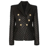 Primetime Looks-Double-breasted grid faux leather blazer