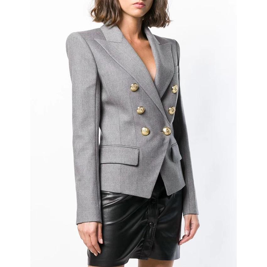 Primetime Looks-Double-breasted long blazer in gray