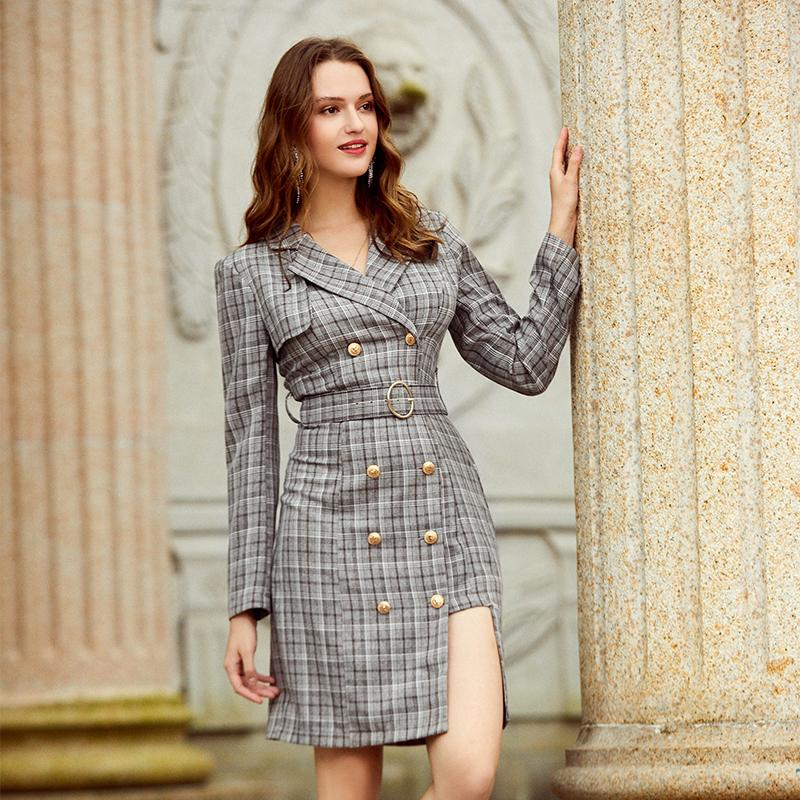 Double-breasted plaid asymetric dress