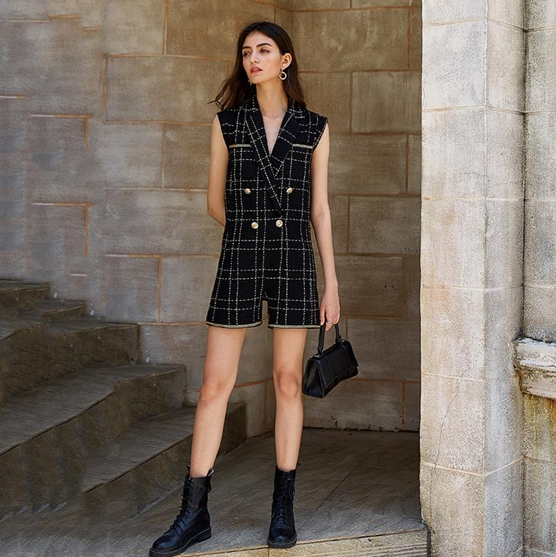 Primetime Looks-Double-breasted plaid romper