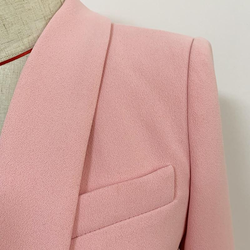 Primetime Looks-Double-breasted powder pink long blazer