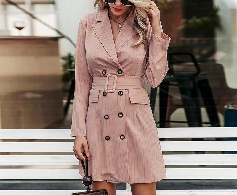 Double-breasted striped blazer mini dress