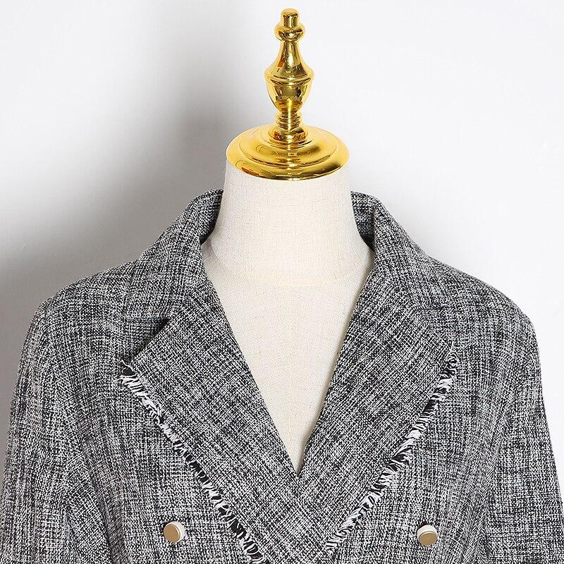 Primetime Looks-Double-breasted tasseled blazer in gray