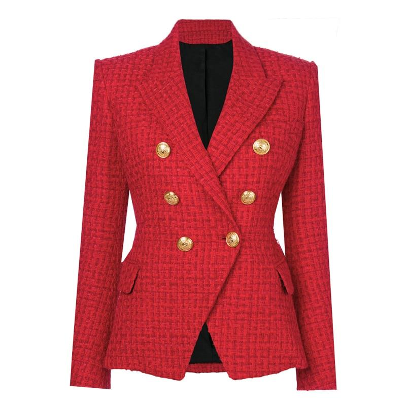 Primetime Looks-Double-breasted wool-blend blazer plaid red