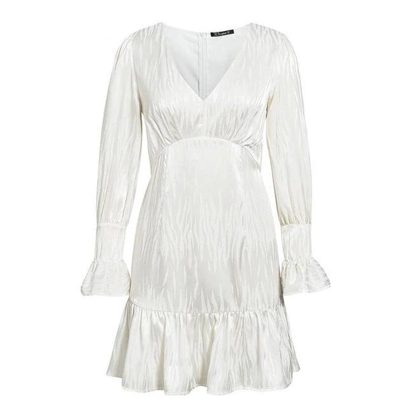 Dovey V-neck white mini dress-Primetime Looks