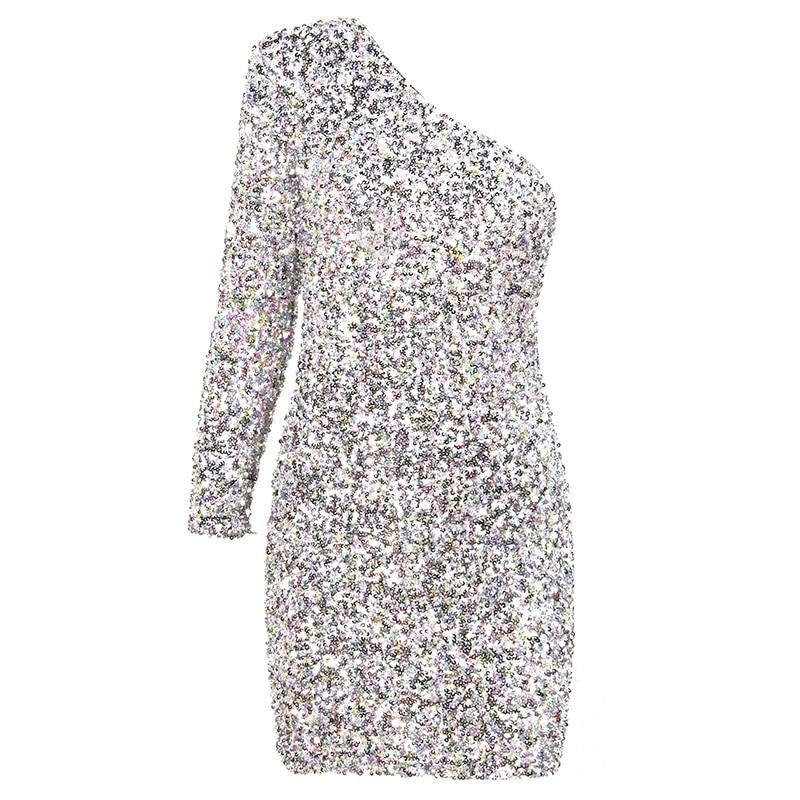 JINGLE one-sleeve sequinned silver dress