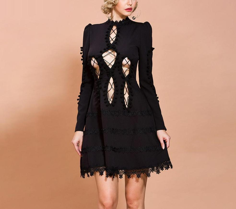 MARCIA hollow-out black mini dress-mini dress-Primetime Looks