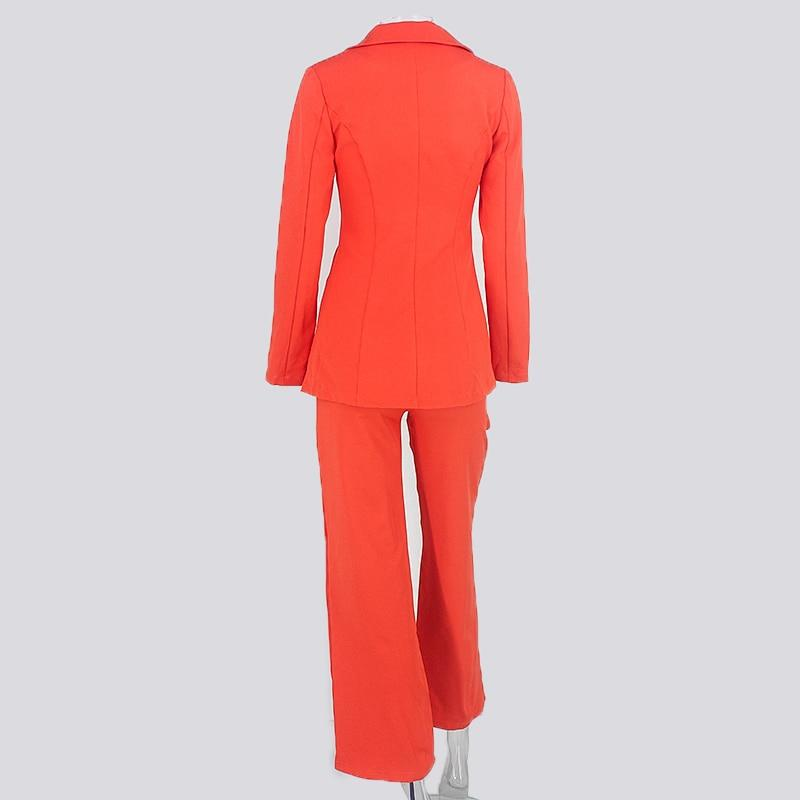 Primetime Looks-Electric orange pants suit