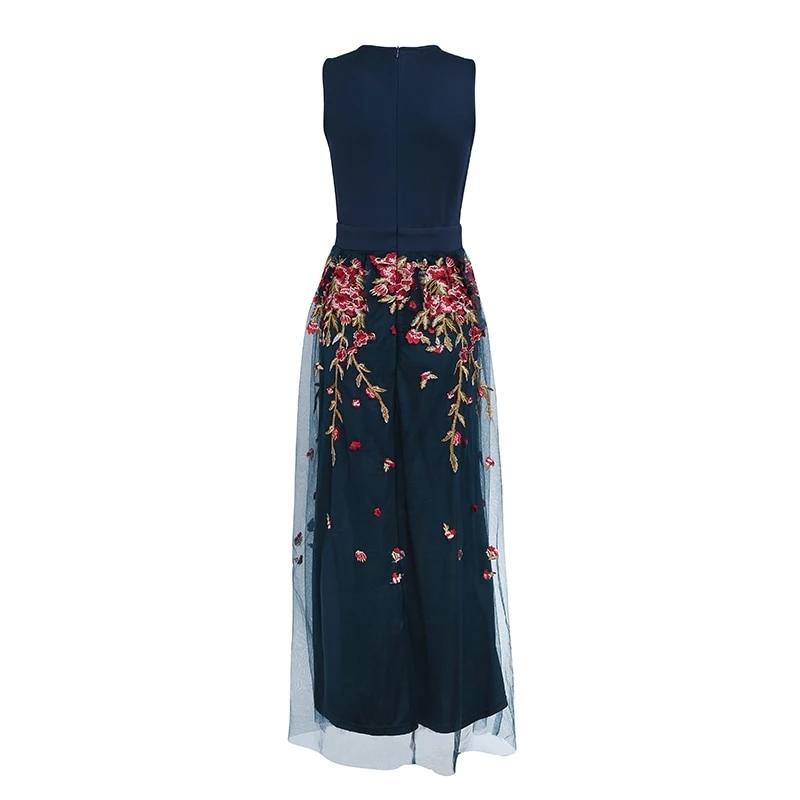 Embroidered elegant maxi dress in navy blue