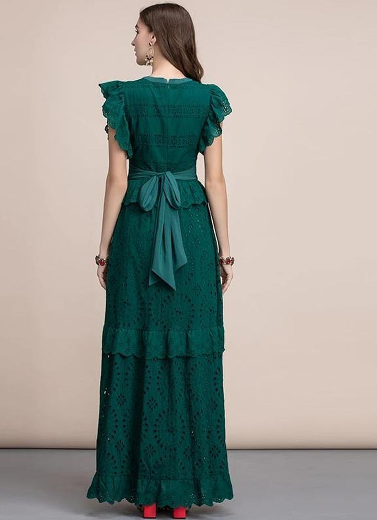 Emerald ruffled maxi dress