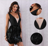 Featherly black mini dress