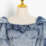 Primetime Looks-Frilly Top and Wide Pants Denim Set