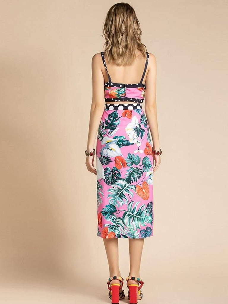 Primetime Looks-Frutti printed crop top & skirt set
