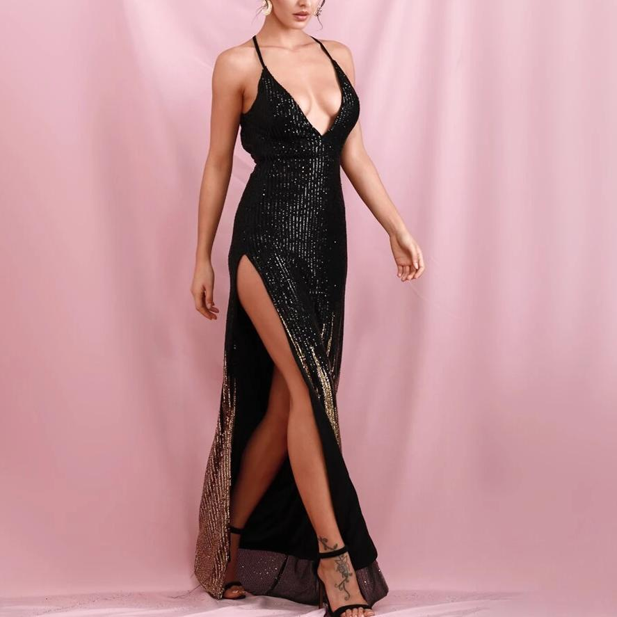 GALA sequinned black gown