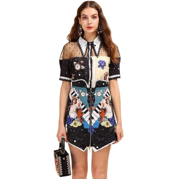 Primetime Looks-Galaxy printed mesh skirt suit