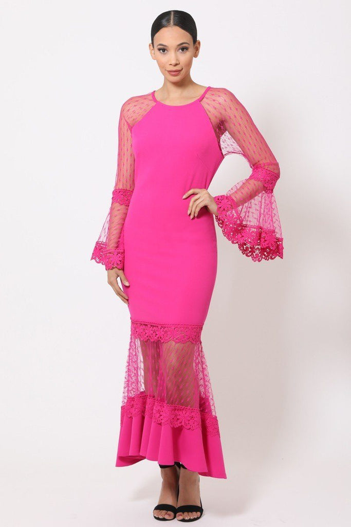 GISELLE Bell Sleeve Mesh Midi Dress in colors