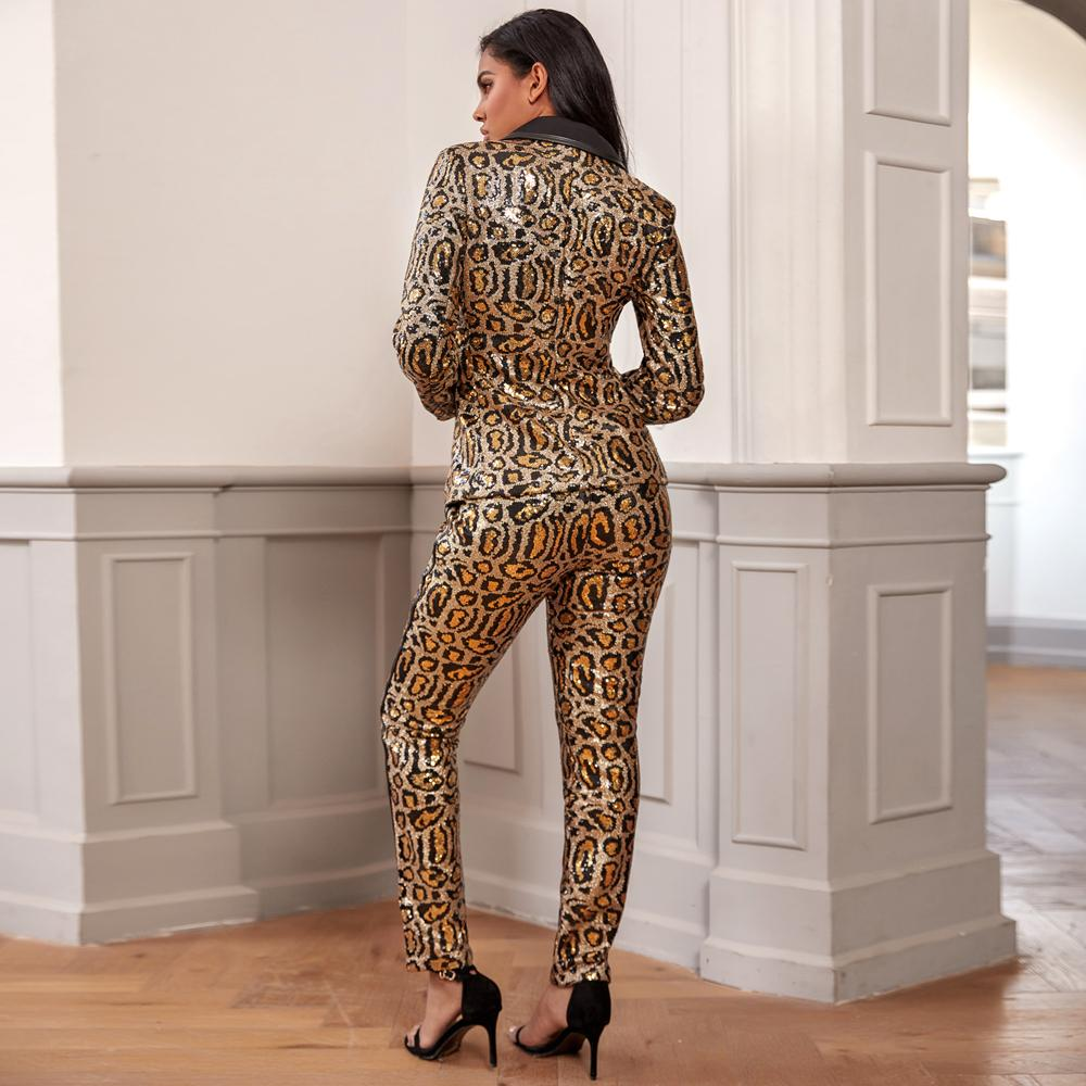 Primetime Looks-Golden Leopard sequinned suit