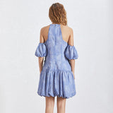 Hollow-out pleated mini dress in blue