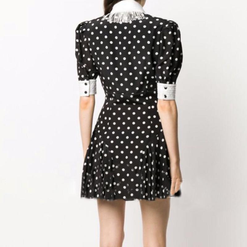 JAZEL Polka dot Tassel Puff Mini Dress