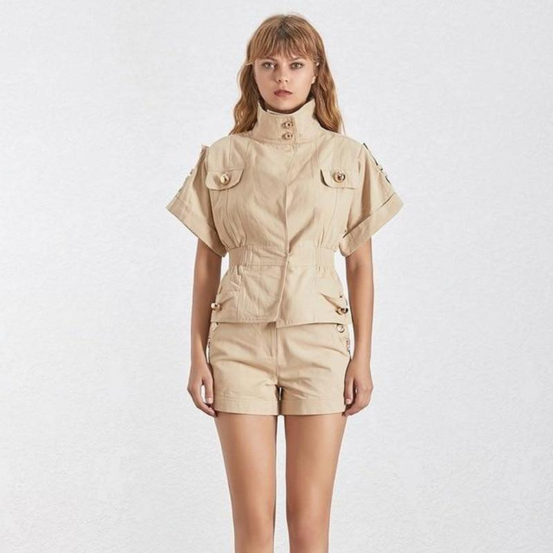 Primetime Looks-Jungle Jane turtleneck jacket and shorts in khaki beige