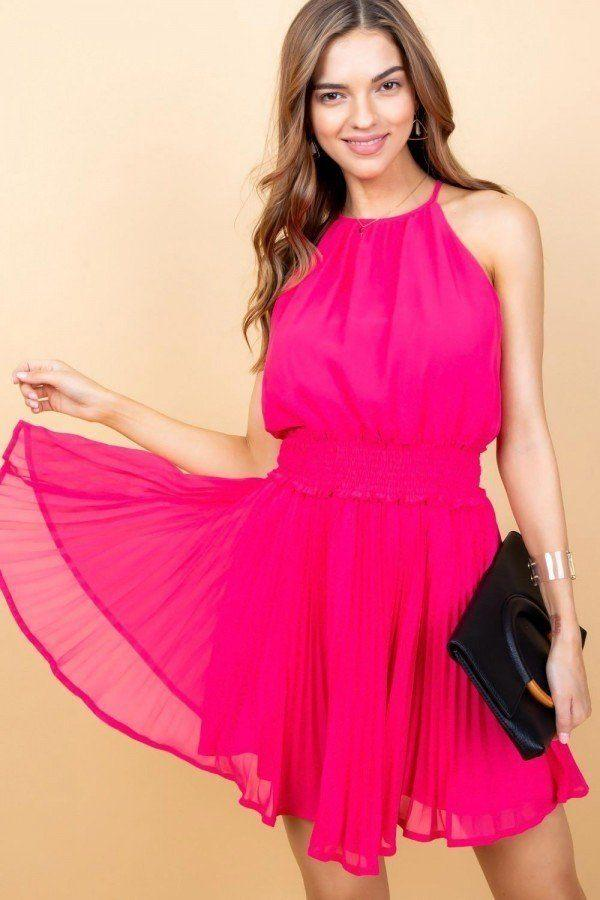 KATHY halter neck mini dress in hot pink