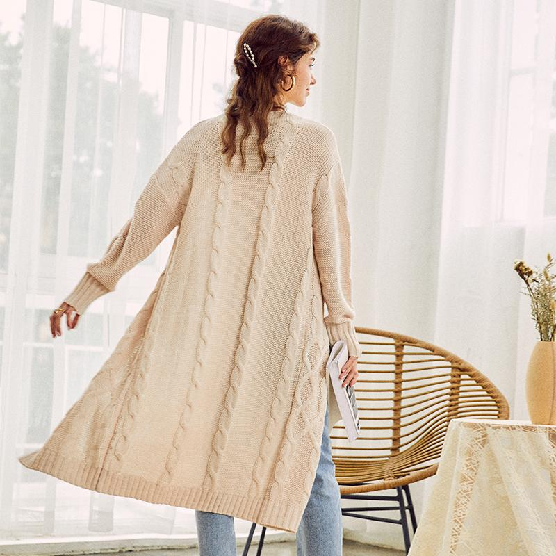 Knitted long cardigan in cream