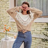 Lace patchwork camel sweater
