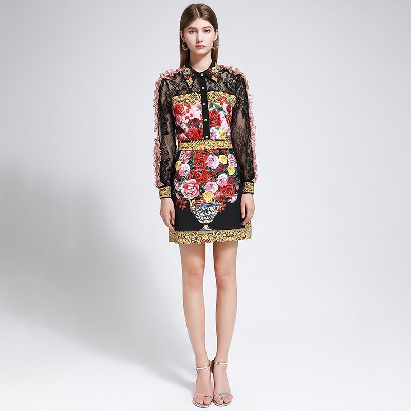 Primetime Looks-Lace Ruffled Blouse and Floral Print Skirt Suit