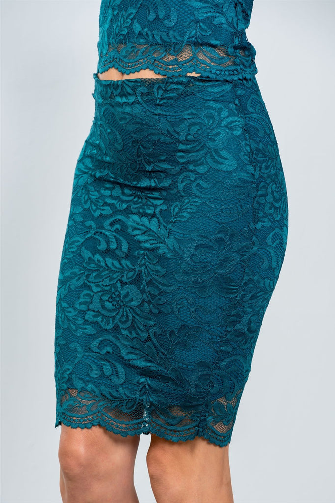 Primetime Looks-Ladies fashion teal floral lace top and mini skirt set