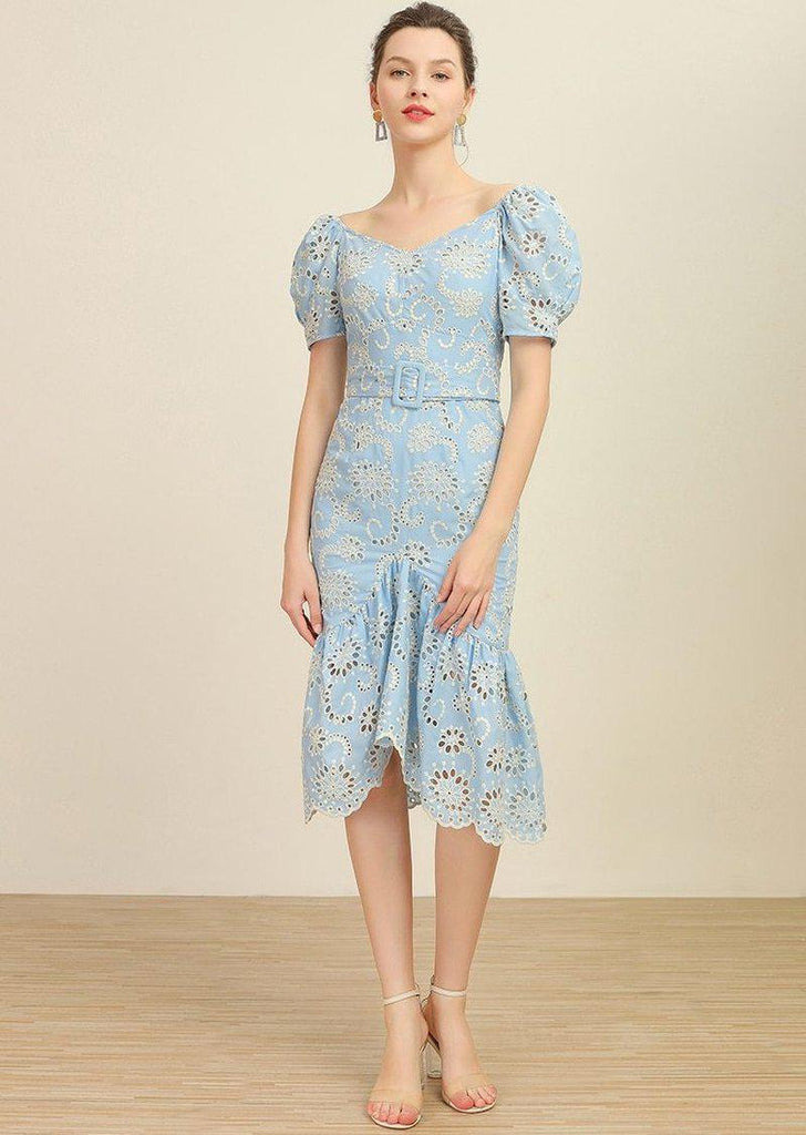 LANA Eyelet Mermaid Midi dress