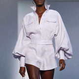 Primetime Looks-Lantern sleeve jacket and shorts set in white