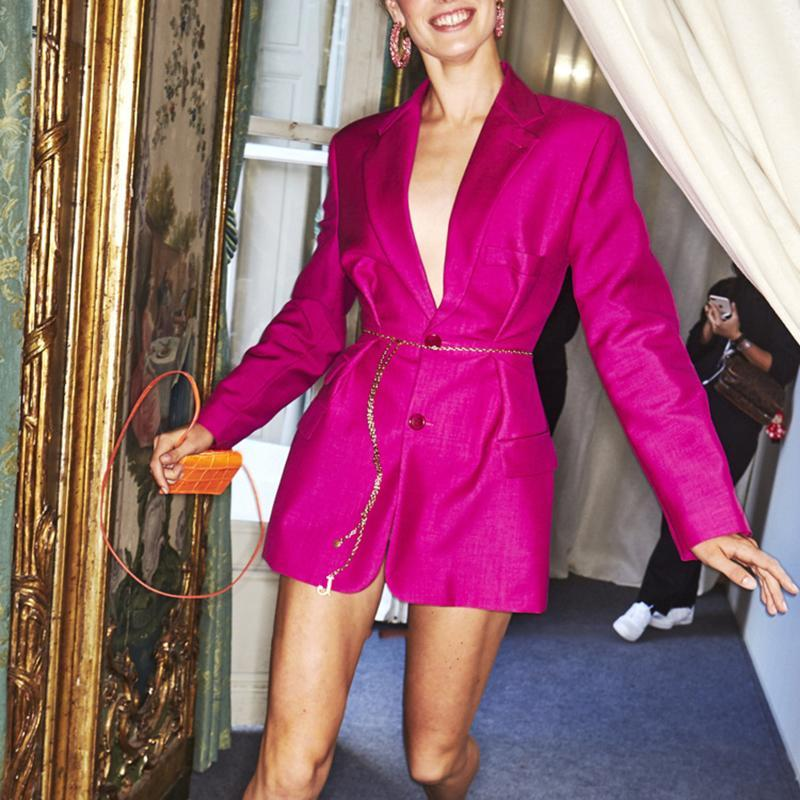 Primetime Looks-Lapel collar blazer in fuchsia