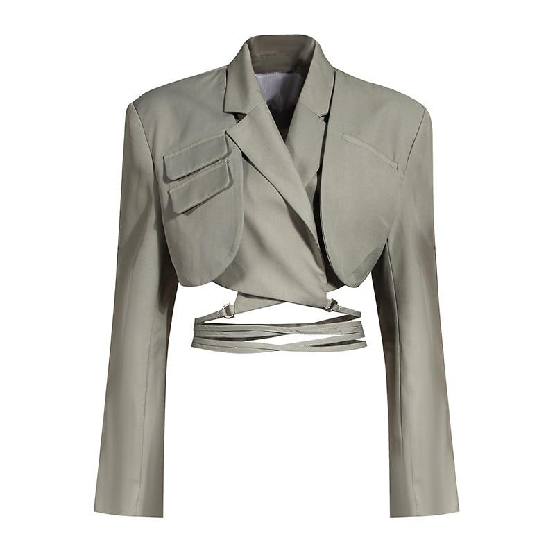 Lapel jacket and pleated skirt set in colors