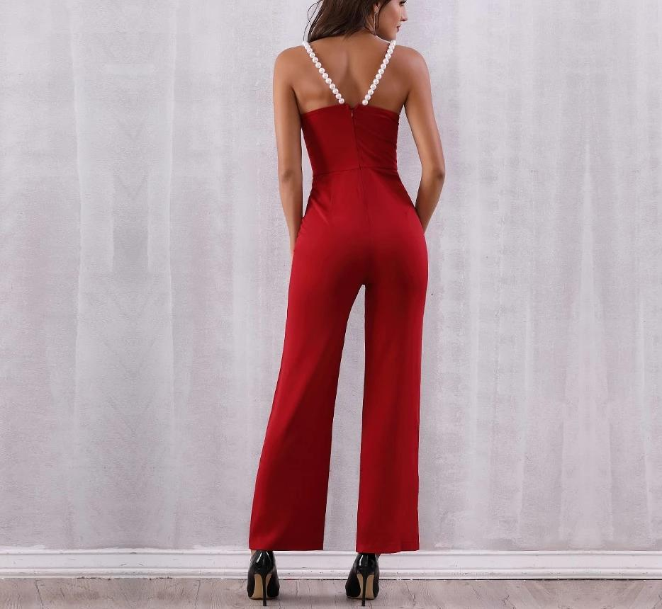 Primetime Looks-Let's dance beaded strapped jumpsuit in red
