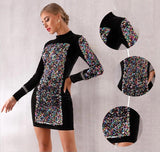 Lollypop sequined long-sleeve mini dress-Primetime Looks