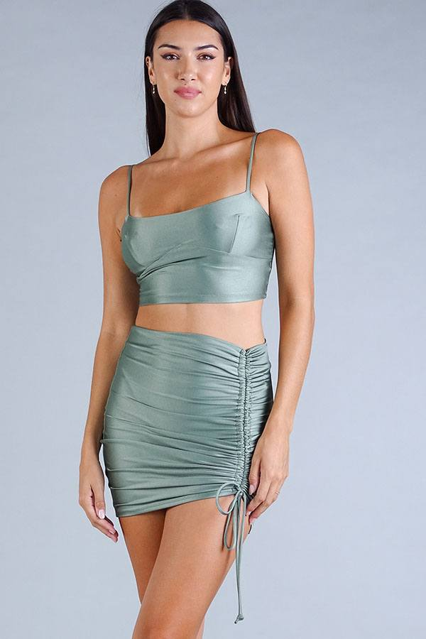 Luxe Satin Crop Top in Light Green
