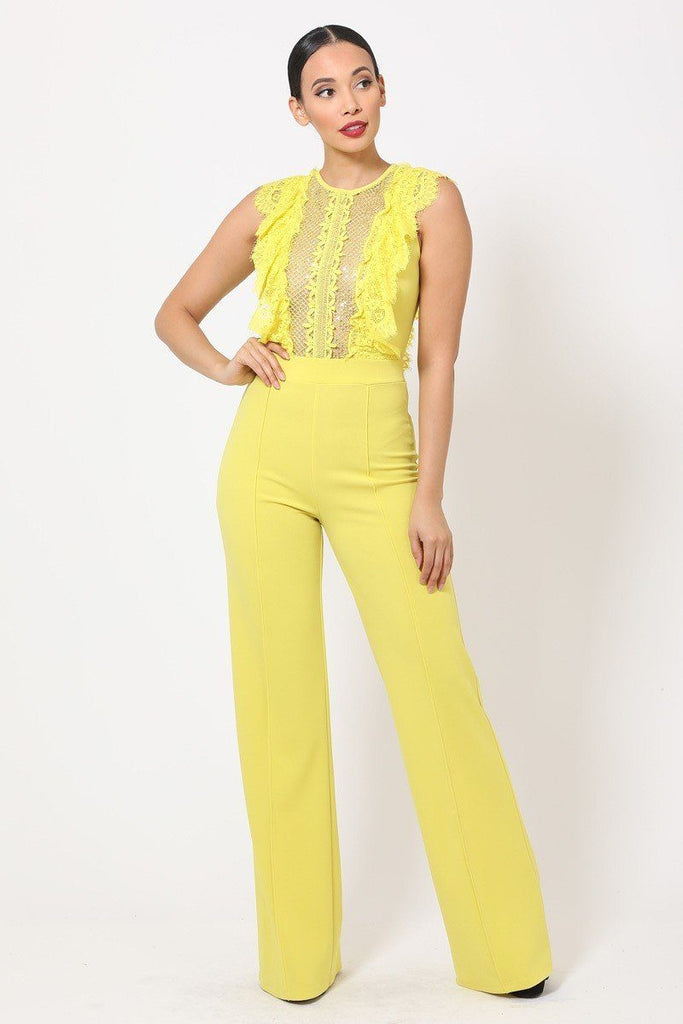 Primetime Looks-MAGIC sheer lace jumpsuit in colors