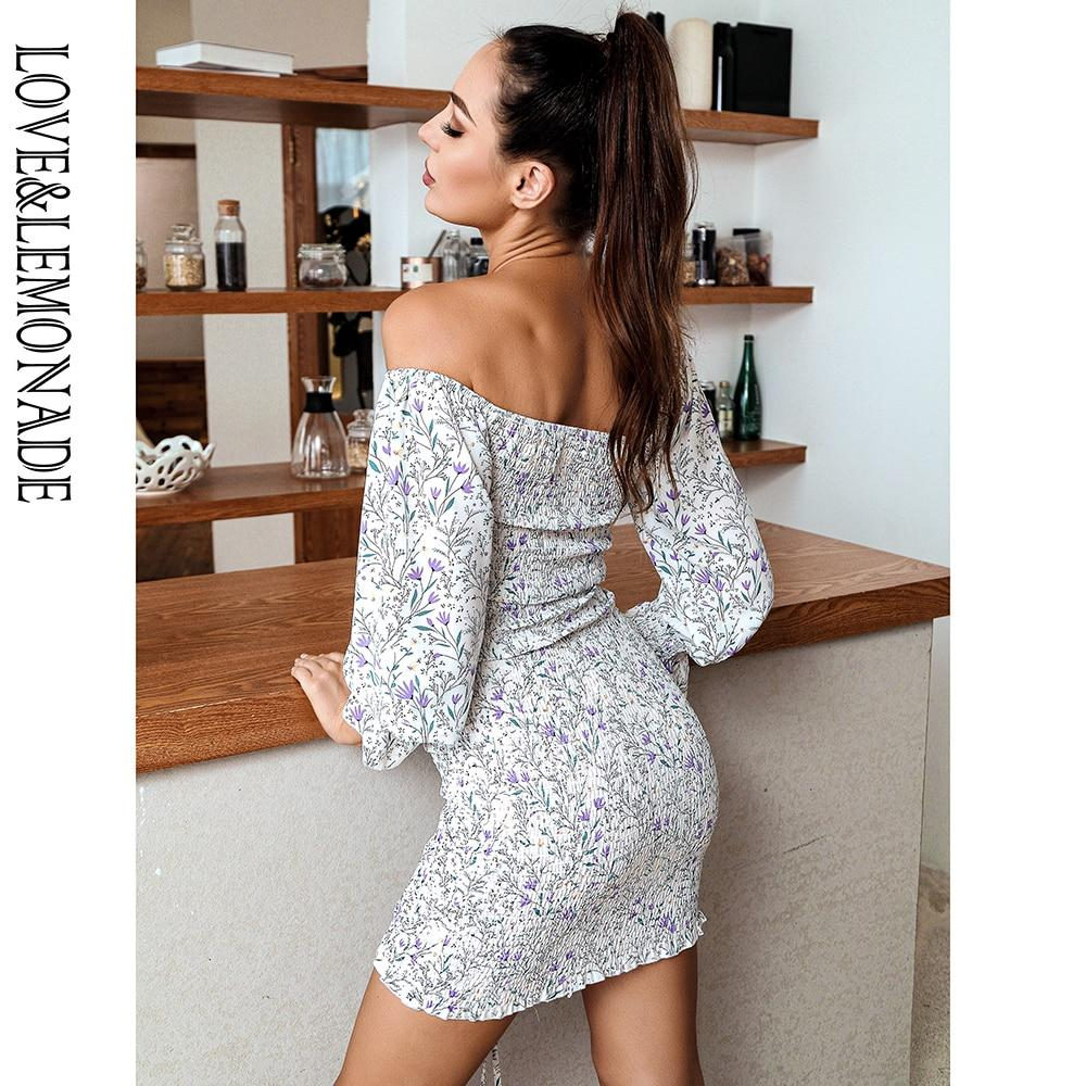 MINA Off-shoulder Floral Mini Dress in White-Purple