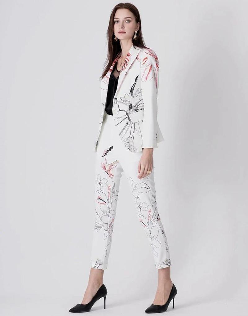 Primetime Looks-MONET White floral pant suit