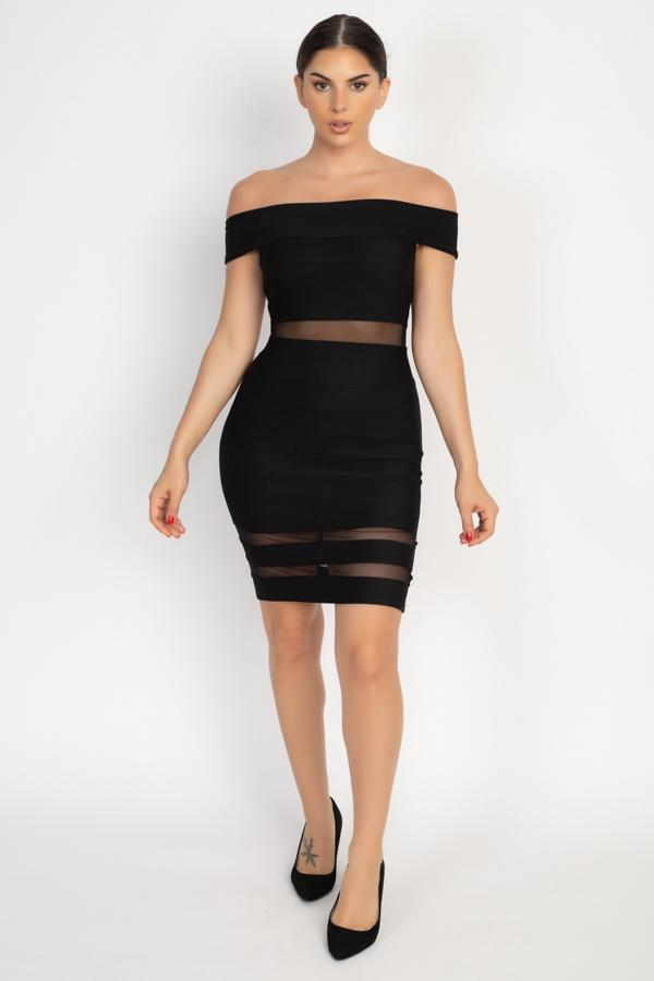 MONICA off shoulder mesh party dress