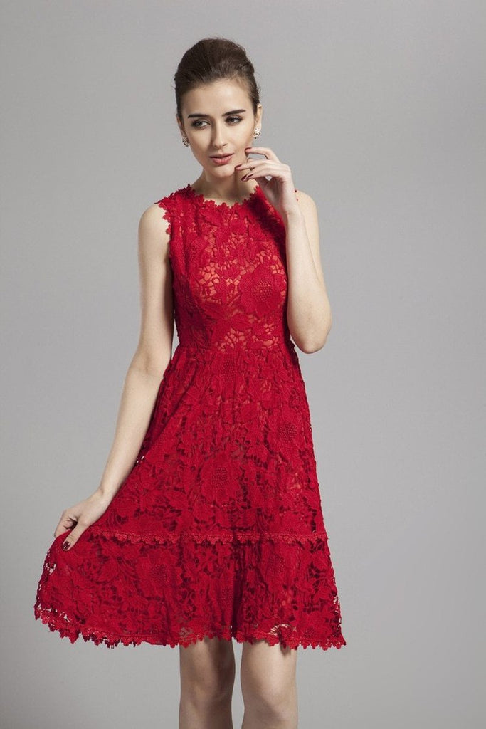 NORAH lace midi red dress