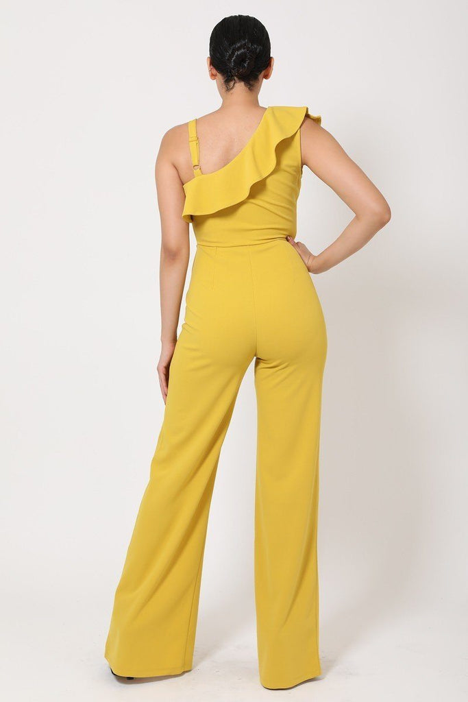 Primetime Looks-One Shoulder Ruffled Jumpsuit in colors