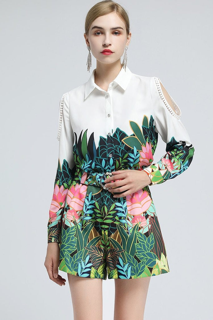Primetime Looks-Open Sleeve Belted Jungle Print in Set