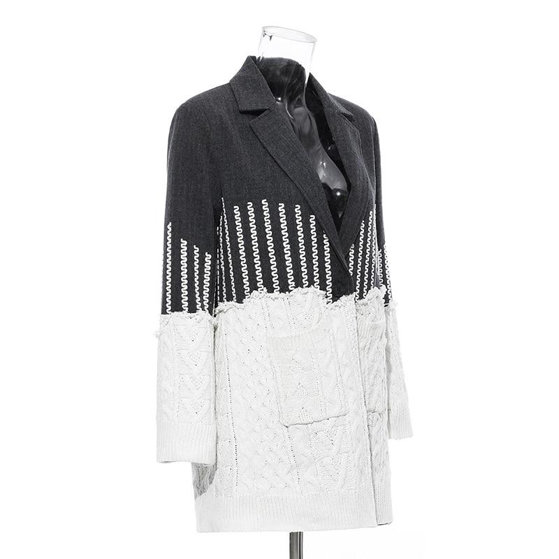 Primetime Looks-Patchwork knitted long blazer