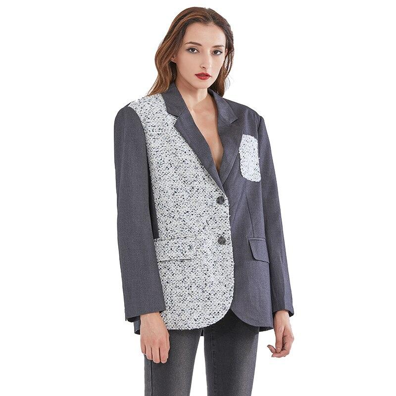 Patchwork oversize blazer in gray