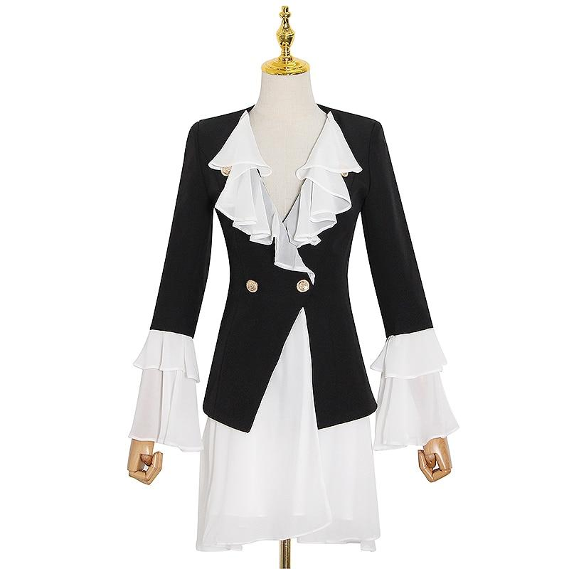 Patchwork ruffled long blazer