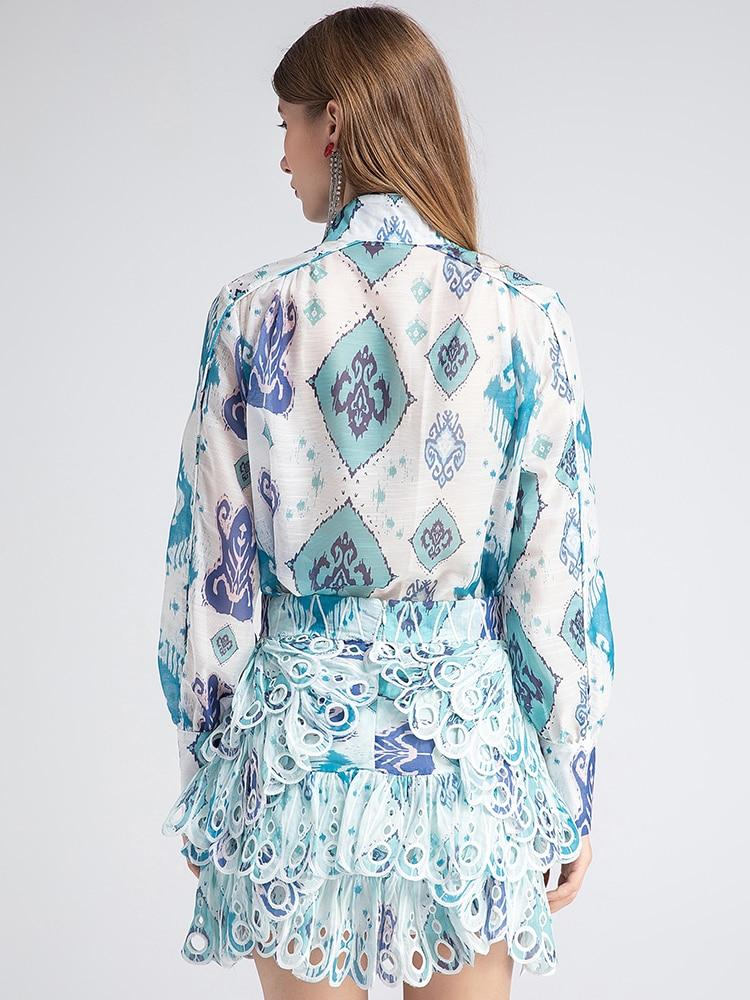 Primetime Looks-Peacock Skirt Lantern Sleeve Blouse in Set