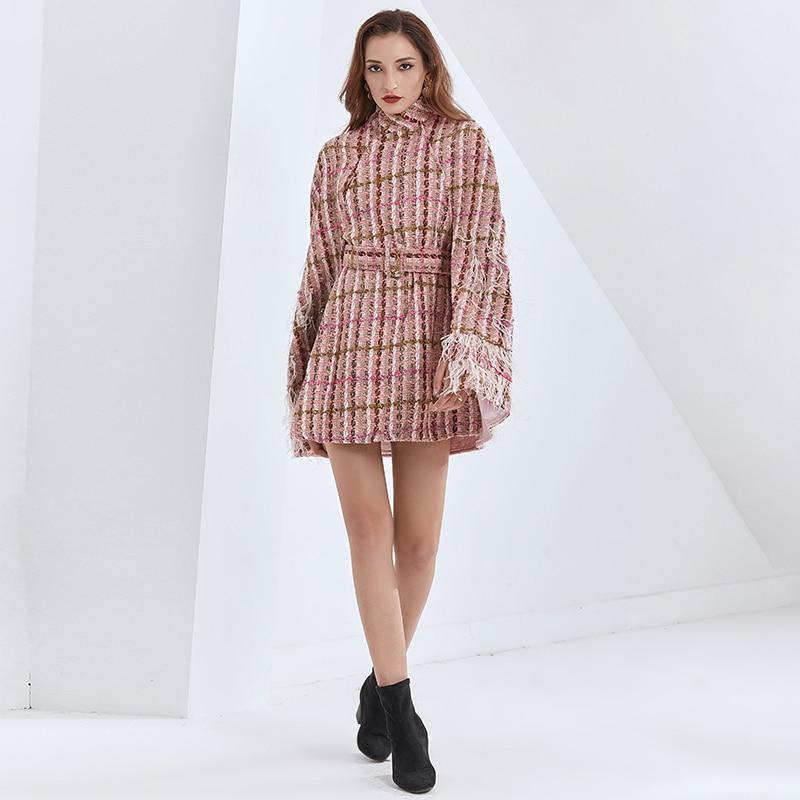 Plaid belted featherly cape dress
