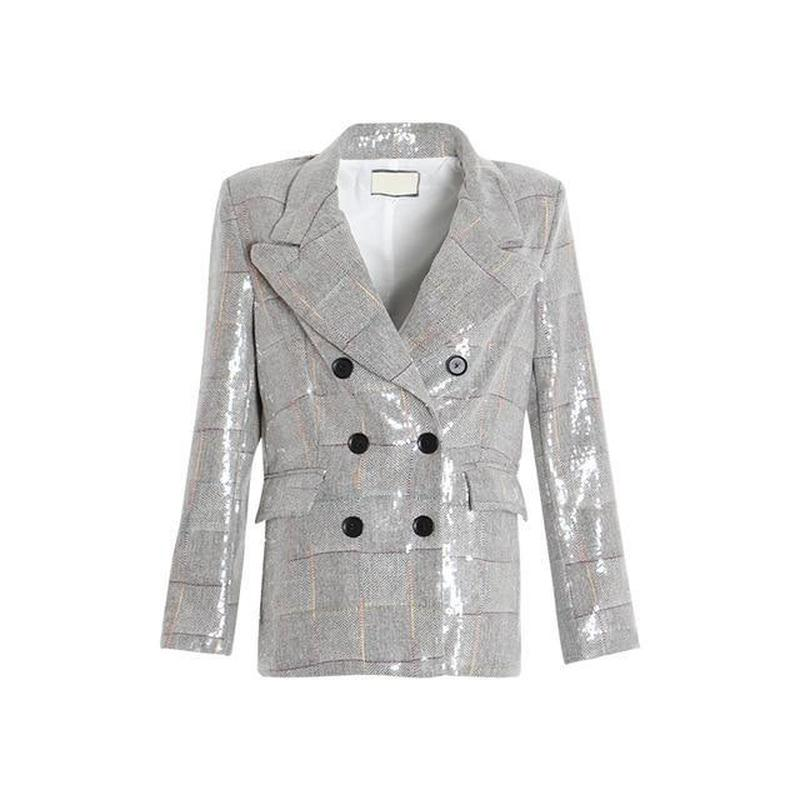 Primetime Looks-Plaid double-breasted blazer with sequins