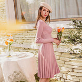 Pleated V-Neck midi dress in pink